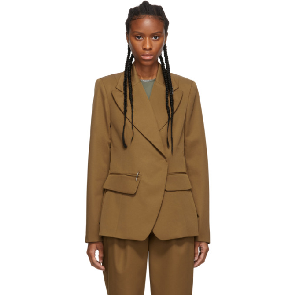 Tibi Tan Recycled Techy Peaked Lapel Blazer In Camel