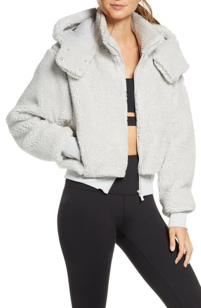 Alo Yoga Foxy Sherpa Hooded Active Jacket In Dove Grey