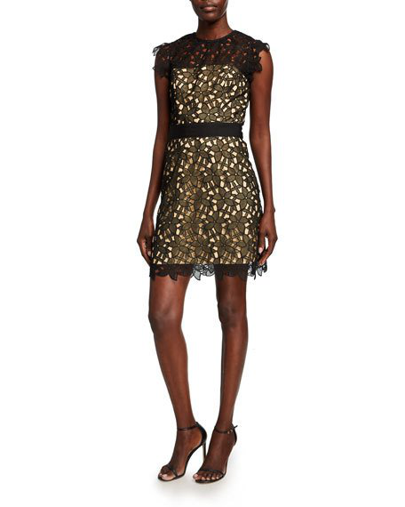 Milly Leila Floral Guipure Lace Short Dress In Black Nude