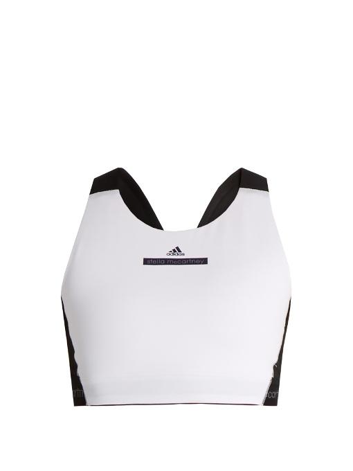 Adidas By Stella Mccartney Hiit Performance Bra In White Black