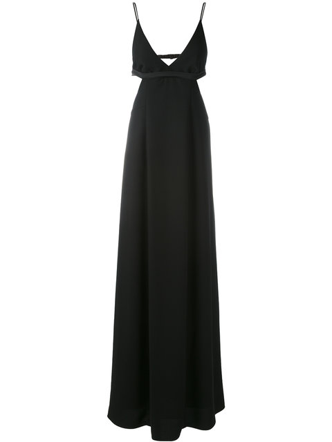 Alexander Wang T Poly Crepe Triangle Bralette Maxi Dress In Black
