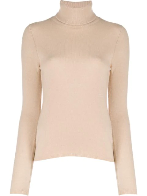 Allude Roll Neck Jumper In Neutrals