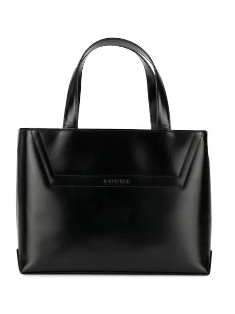 Loewe Logo Hand Bag In Black