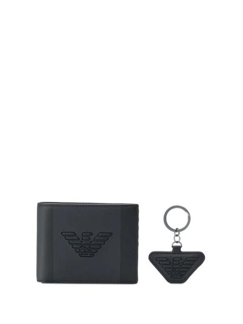 Emporio Armani Wallet & Keyring Gift Set In Black