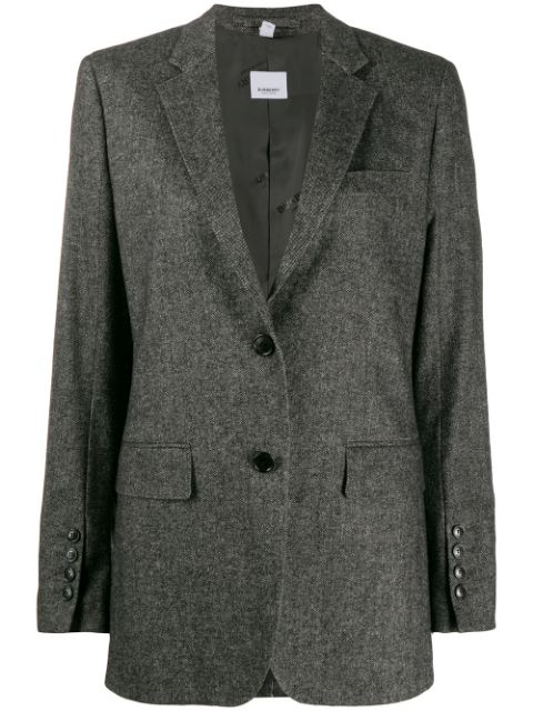 Burberry Tweed Jacket In Black