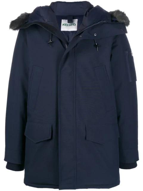 Kenzo Hooded Zip-front Coat In Blue