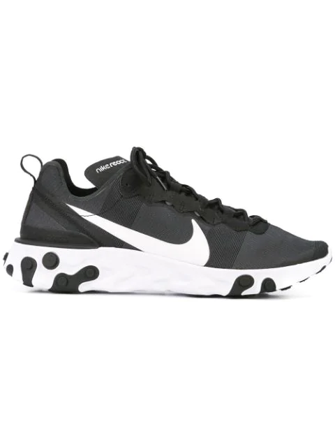 "Nike Black And White ""React Element 55"" Sneakers In 003 Black White"