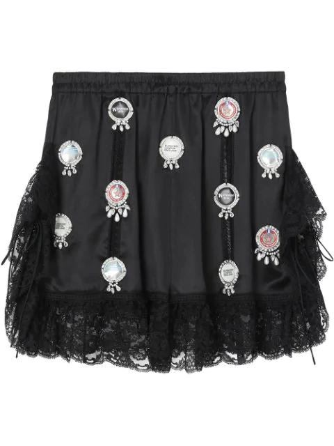 Burberry Bottle Cap Detail Satin And Lace Shorts In Black