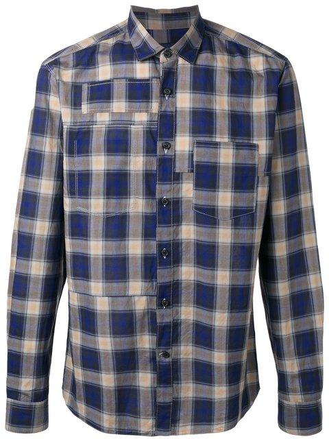 Lanvin Topstitched Patchwork Checked Shirt