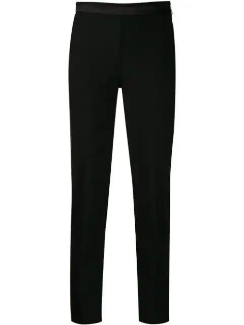 Patrizia Pepe Colour Block Cropped Trousers In Black