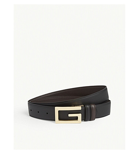Gucci Square G Buckle Reversible Leather Belt In Black Cocoa