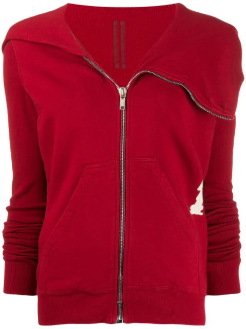 Rick Owens Drkshdw Zipped-up Sweatshirt In Red