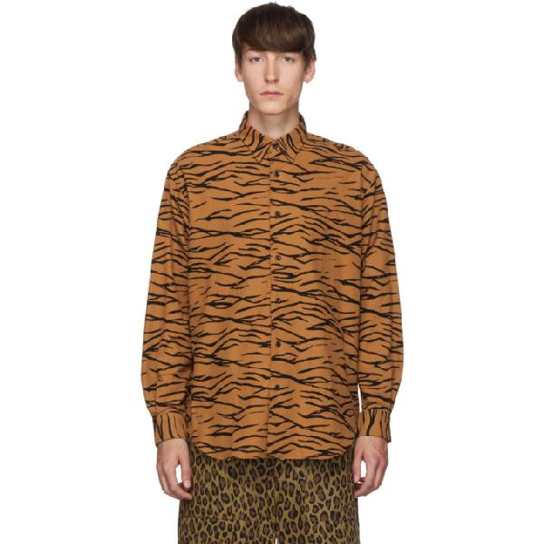 Johnlawrencesullivan Orange And Black Regular Collar Tiger Shirt