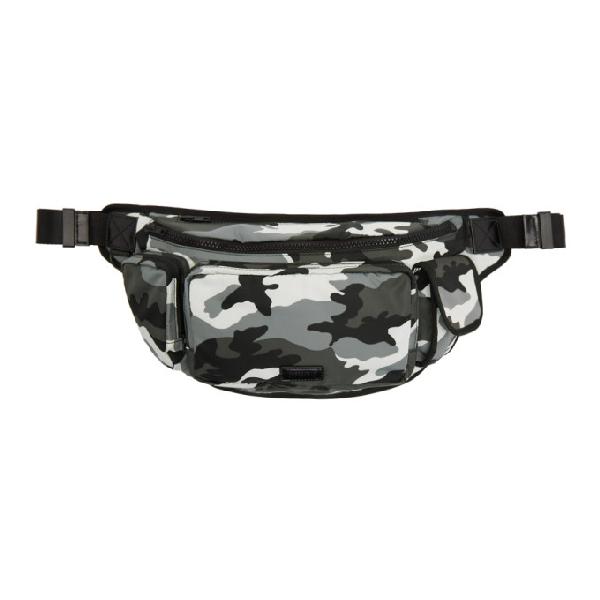 Juun.j Black And Grey Camo Bum Bag In 5 Black