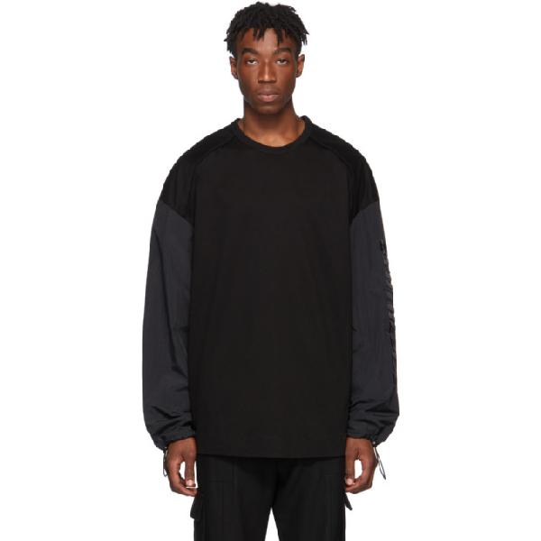Juun.j Black Technical Long Sleeve T-shirt In 5 Black