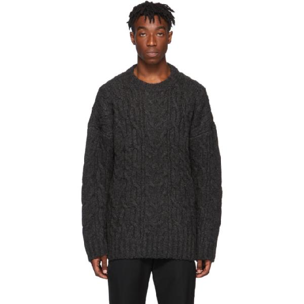 Juun.j Grey Knit Crewneck Sweater In 4 Ash