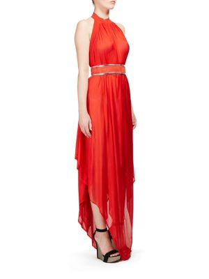 Balmain Halterneck Backless Asymmetric Dress In Red