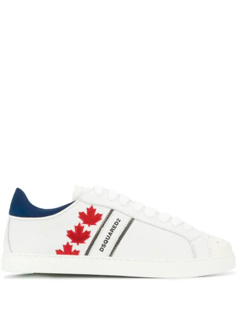 Dsquared2 Canadian Team Leather Low Top Sneakers In M1747 Bianco+Rosso