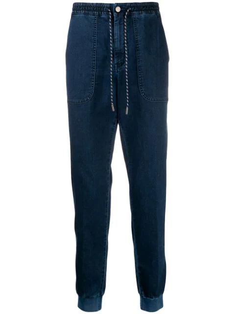 Z Zegna Denim Tapered Trousers In Blue