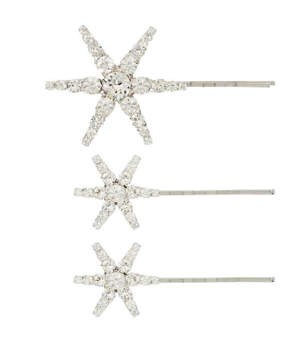 Jennifer Behr Aurelia Set Of Embellished Barrettes In Silver