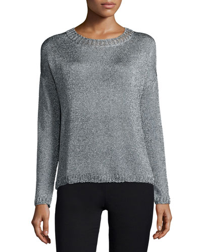 Vince Textured Crewneck Sweater, Silver
