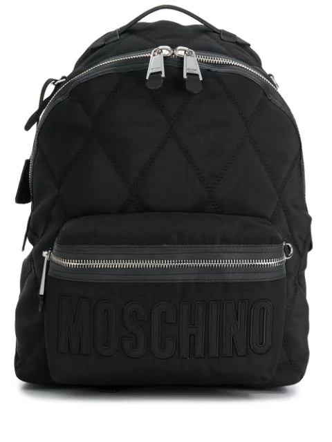 Moschino Quilted Effect Backpack In Black