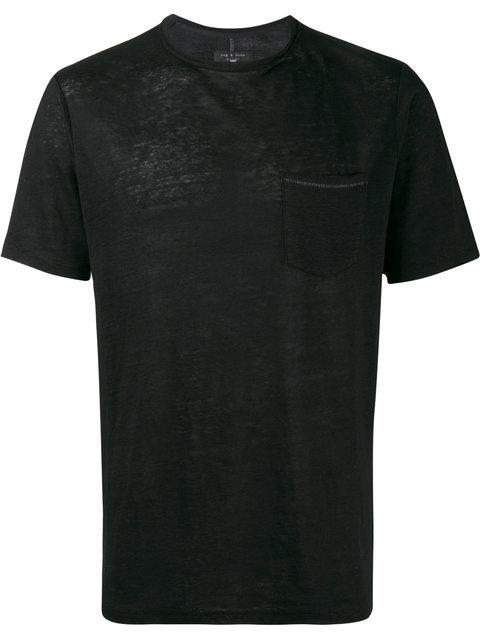 Rag & Bone Owen Slub Linen T-shirt In Black