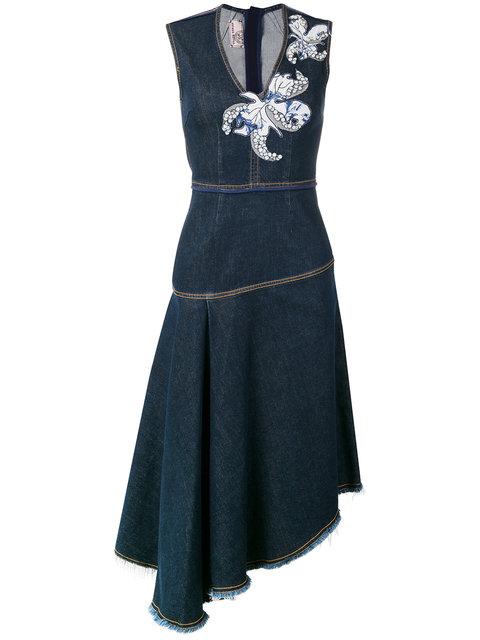 Antonio Marras Floral Patch Denim Dress