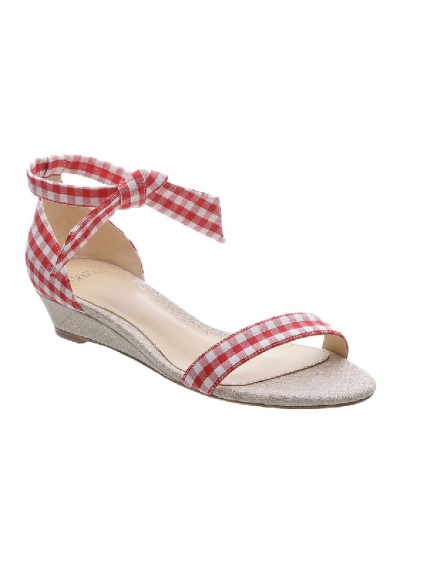Alexandre Birman Red 'clarita Gingham' Wedge Sandal