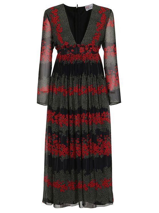 Red Valentino Printed Midi Dress In Black