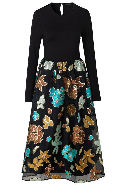 Stine Goya Alba Dress - Flower Garden Autumn In Black