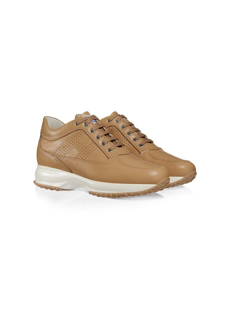 Hogan Women's Shoes Leather Trainers Sneakers Interactive H Bucata Altraversione In Beige