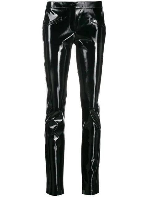 Barbara Bui Patent Skinny Trousers In Black
