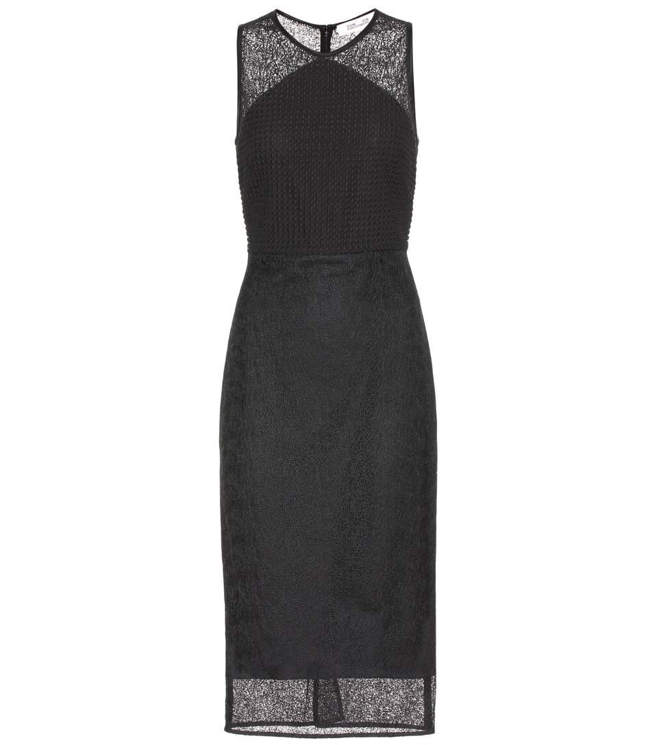Diane Von Furstenberg Tailored Twig Lace Dress In Black