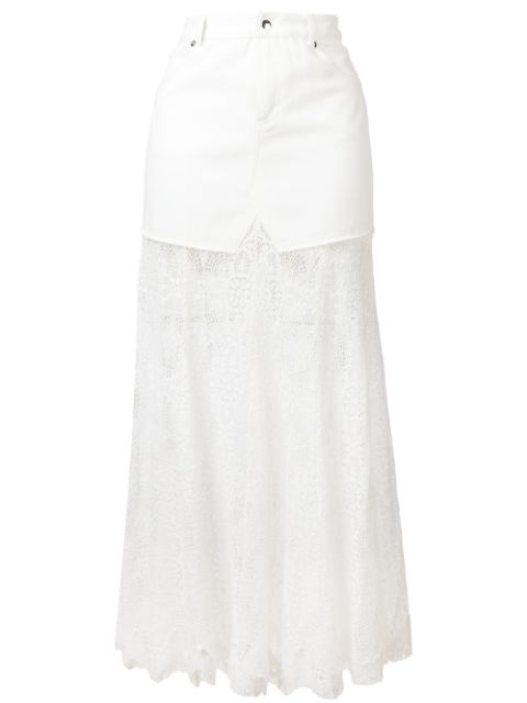 Mcq By Alexander Mcqueen Long Lace & Cotton Denim Skirt In White