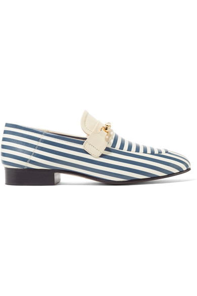 Joseph Woman Embellished Striped Leather Loafers Blue In White Stripe