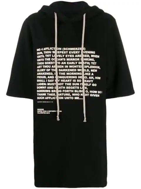 Rick Owens Drkshdw Quote Print Hoodie In Black