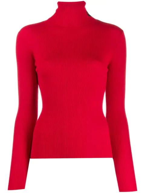 Lala Berlin Ribbed Turtle Neck Sweater In Red