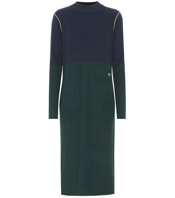 Tory Sport Performance Cashmere Blend Sweater Dress In Tory Navy / Conifer