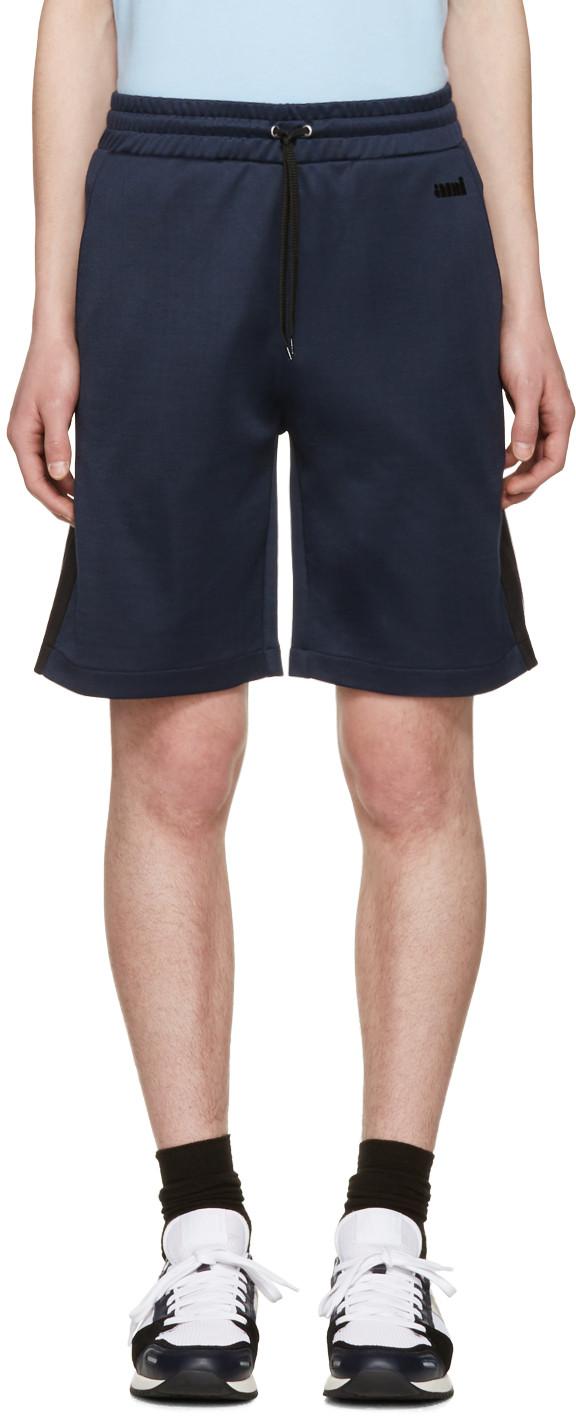 Ami Alexandre Mattiussi Blue Track Shorts In Navy.410