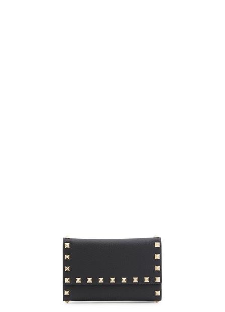 Valentino Rockstud Black Leather Wallet In Nero