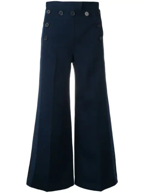 Derek Lam 10 Crosby Washed Canvas Sailor Culottes In Blue