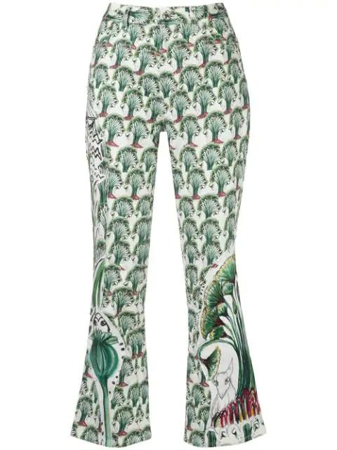 Tsumori Chisato Floral Print Slim-fit Trousers In White