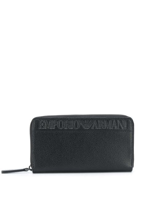 Emporio Armani Embossed Logo Zip-around Wallet In Black