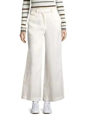 Theory Nadeema Flared Linen Pants In Warm Ivory