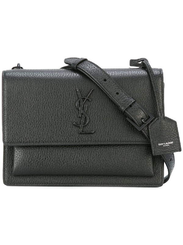 Saint Laurent Sunset Monogram Medium Leather Shoulder Bag In Black