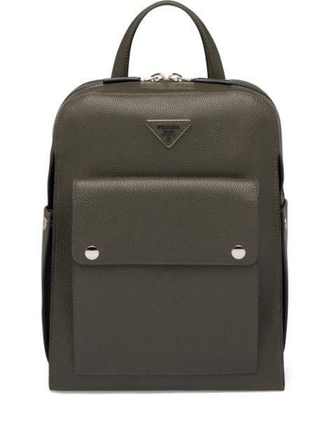 Prada Logo Plaque Backpack In Green