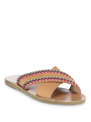 Ancient Greek Sandals Thais Raffia Crossover Vachetta Leather Slide Sandals In Natural