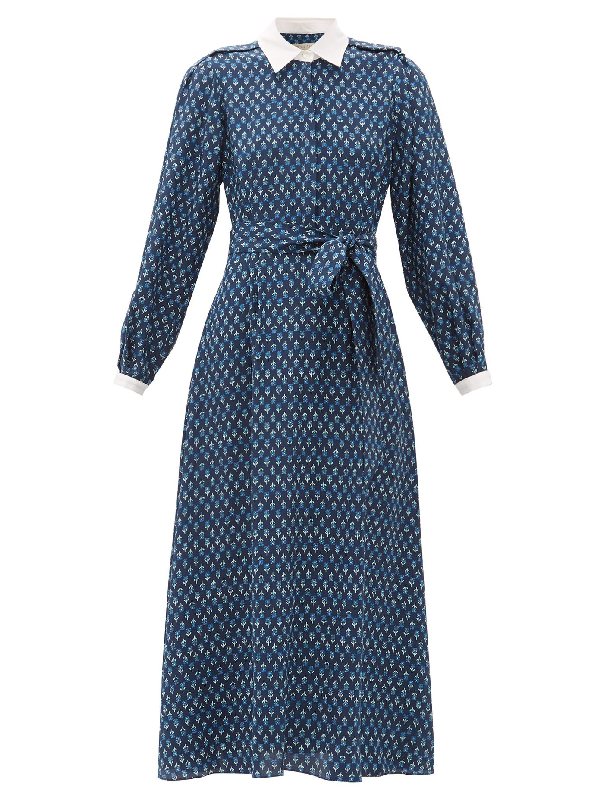 Beulah Shalini Floral-print Silk Midi Dress In Blue Print