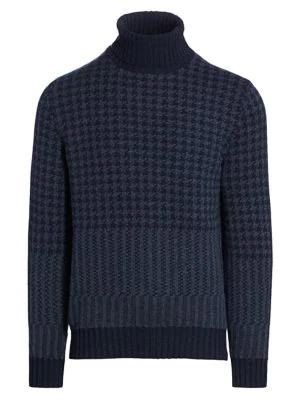 Loro Piana Men's Cabled Herringbone Cashmere Turtleneck Sweater In Argo Blue
